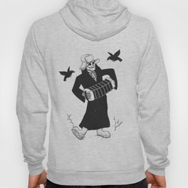 Grim reaper with accordion  - skull musician - black and white Hoody