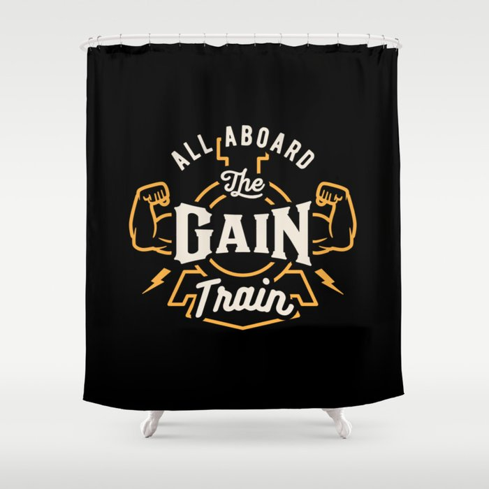 All Aboard The Gain Train Shower Curtain by brogressproject   Society6