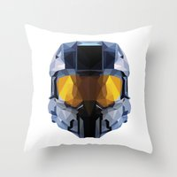 master chief Throw Pillows featuring Geometric Master Chief - Halo  by Something a Little Awesome