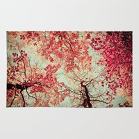 red Area & Throw Rugs featuring Autumn Inkblot by Olivia Joy StClaire