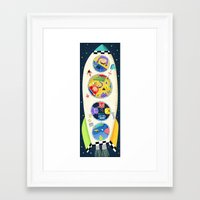 spaceship Framed Art Prints featuring Spaceship  by ilana exelby