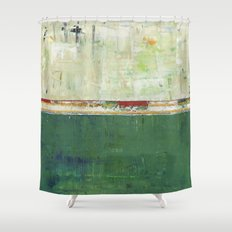 Limerick Irish Ireland Abstract Green Modern Art Landscape Shower Curtain
