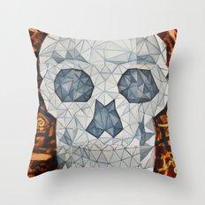 Galvanized Skull Throw Pillow