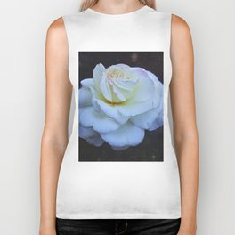 Spaced Out White Rose Biker Tank