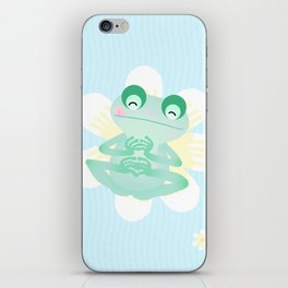 Frog and flowers iPhone Skin