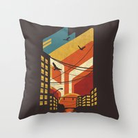 street Throw Pillows featuring Street by The Child