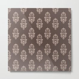baroque pattern wallpaper damask seamless coffee and cream Metal Print