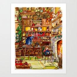 Christmas with Mice Art Print