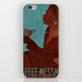 Vintage Red and Teal Turkish Coffee Woman with Cigarette iPhone Skin