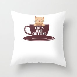 Cat's And Caffeine Coffee Pet Lover Throw Pillow