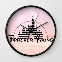 forever young Wall Clocks featuring Forever Young by Pink Berry Patterns