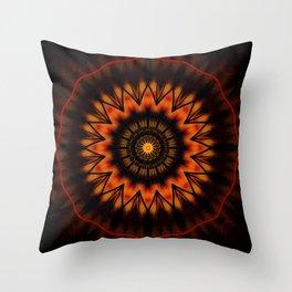 Marigold Red Mandala design Throw Pillow