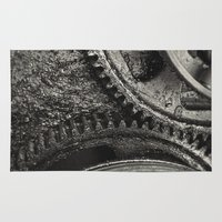grease Area & Throw Rugs featuring Greasy Gears by Shaun Lowe