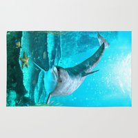 dolphin Area & Throw Rugs featuring Dolphin by Simone Gatterwe