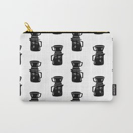 Pour Over Coffee linocut black and white pattern foodie kitchen art Carry-All Pouch