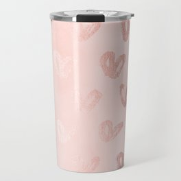 Rosegold Hearts on Pink Travel Mug