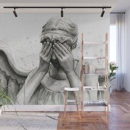 Weeping Angel Watercolor Painting Wall Mural
