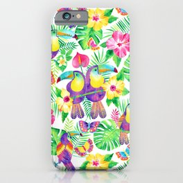 Tropical Toucans in Watercolor White iPhone Case