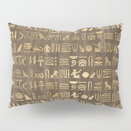 Brown & Gold Ancient Egyptian Hieroglyphic Script Pillow Sham