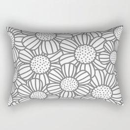 Field of daisies - gray Rectangular Pillow