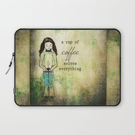 A Cup of Coffee Solves Everything Laptop Sleeve