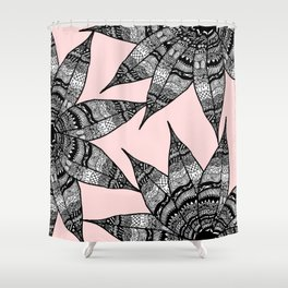 Artsy Black White Pink Hand Drawn Flower Drawing Shower Curtain