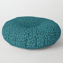 TEAL LEOPARD PRINT – Teal Blue | Collection : Punk Rock Animal Prints. Floor Pillow