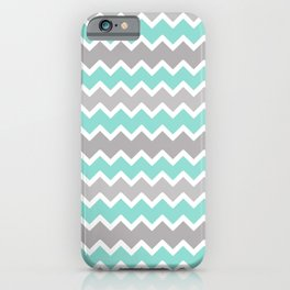 Aqua Turquoise Blue and Gray Chevron iPhone Case