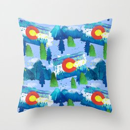 Watercolor Colorado mountains, trees and flag Light Blue Throw Pillow