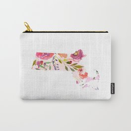 massachusetts pink floral state map watercolor Carry-All Pouch