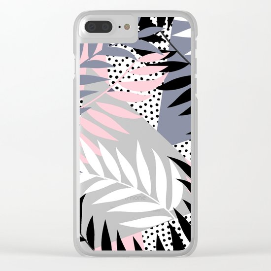 Palms on Polka Dots Clear iPhone Case