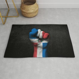 Dominican Flag on a Raised Clenched Fist Rug