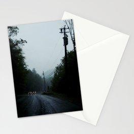 black road rain Stationery Cards