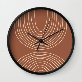 Hand drawn Geometric Lines in Terracotta and Beige 2 Wall Clock