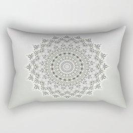 Mandala Flowers Grey Green Rectangular Pillow