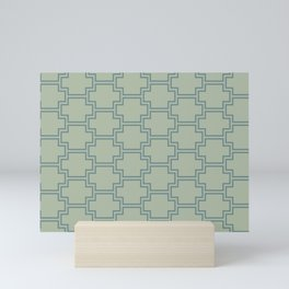 Blue-Green Green Line Pattern 2 Ornamental Box 2021 Color of the Year Aegean Teal Salisbury Green Mini Art Print