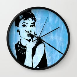 Audrey in Blue Wall Clock