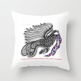 Veterans Happy Holiday and Thank You for Your Service - Zentangle Illustration Throw Pillow