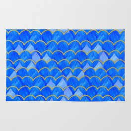 Blue, White & Gold Mermaid Rug