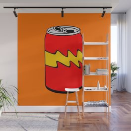 Red Orange & Yellow Cartoon Soda Can Colourful Simple Art Wall Mural