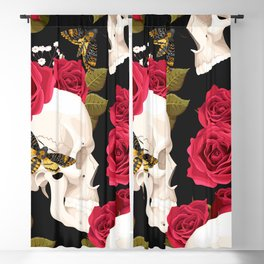 Rose Skulls With Moths Floral Kingdom Sumptuous Fantasy Flower Pattern Blackout Curtain