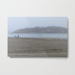 Walking on a foggy beach Metal Print