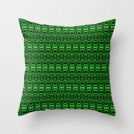 Dividers 07 in Green over Black Throw Pillow