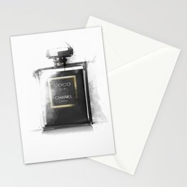 Perfume Bottle Noir Parfum Pop Art Fashion Stationery Cards