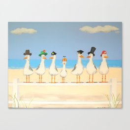 Seagulls with Hats Canvas Print