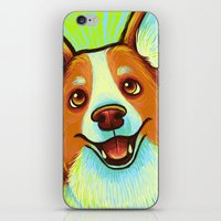 corgi iPhone & iPod Skins featuring Corgi  by Nicole
