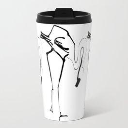 Simple Black Ink Flamingo Illustration, Minimalist Art. Travel Mug