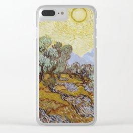Vincent van Gogh - Olive Trees with Yellow Sky and Sun Clear iPhone Case