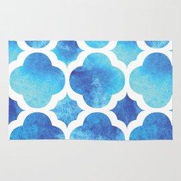 Watercolor Moroccan Quatrefoil Clover Trellis in Turquoise Sea Rug