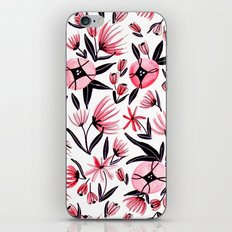 Black and Peach Flowers - Watercolor Pattern iPhone & iPod Skin